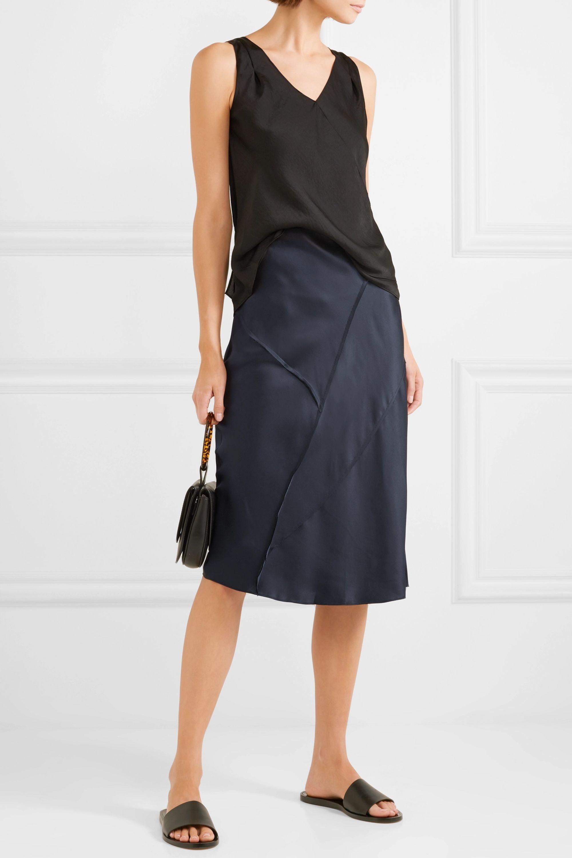 Vince Paneled silk-satin midi skirt
