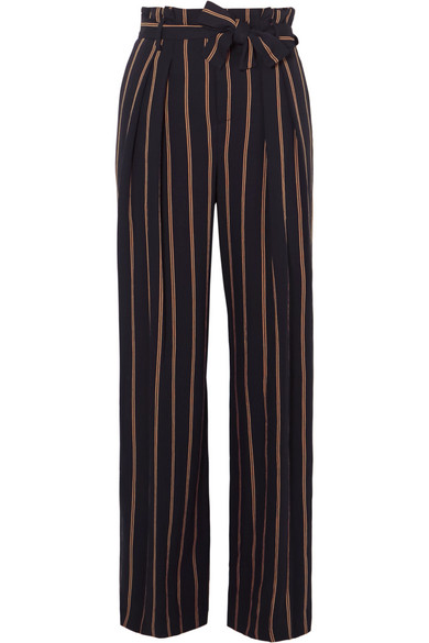 Belted Striped Crepe Wide-leg Pants - Navy Vince Outlet Factory Outlet bCM5Xo3