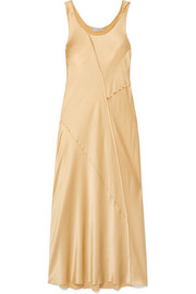 Paneled silk-satin midi dress