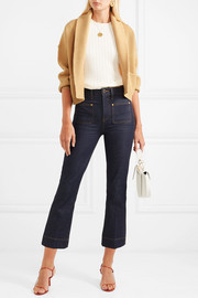 Cropped ribbed wool and cashmere-blend cardigan
