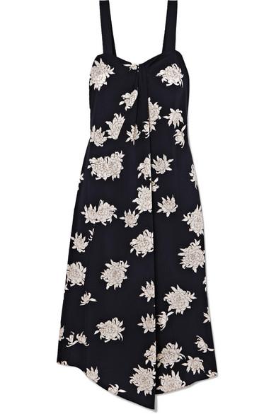 Vince Dresses Asymmetric floral-print silk-crepe midi dress