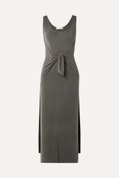 Tie Front Modal Blend Jersey Midi Dress by Vince