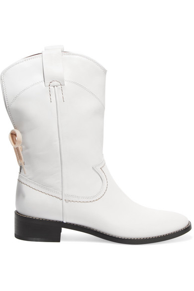 See By Chloe Women'S Annika Leather Low-Heel Cowboy Boots in White