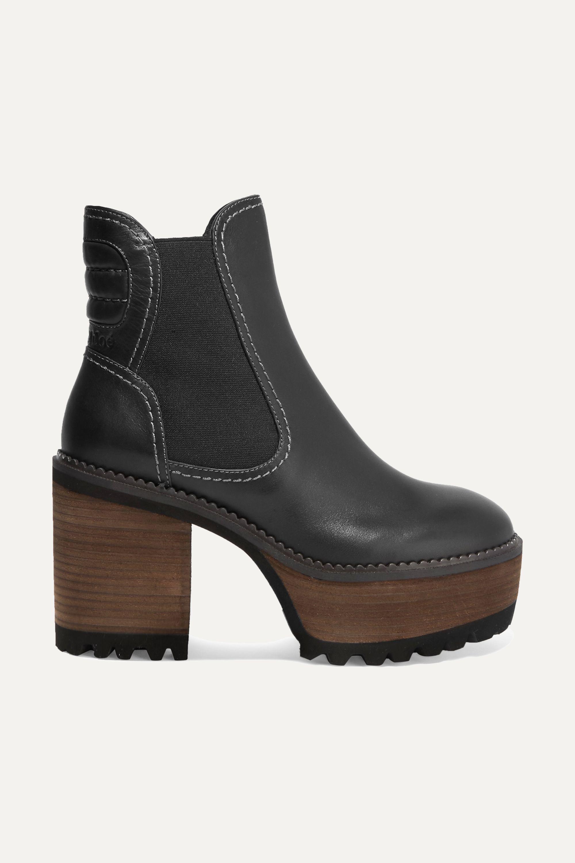 Erika leather platform ankle boots