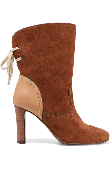 22c0ad3d1fb6a See By Chloé. Lara leather-trimmed suede ankle boots