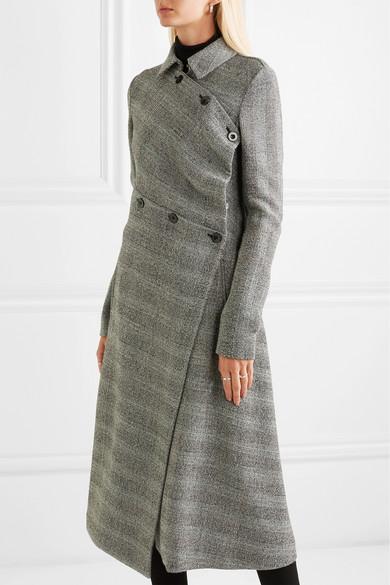 Asymmetrischer Mantel aus einer Wollmischung mit Glencheck Muster