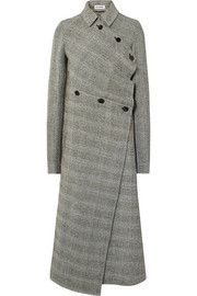 Asymmetric Prince of Wales checked wool-blend coat