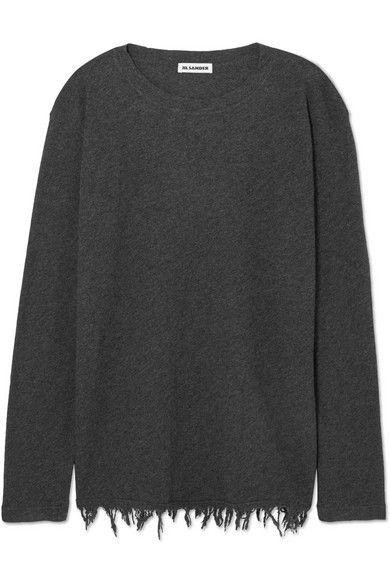 FRAYED WOOL AND CASHMERE-BLEND SWEATER