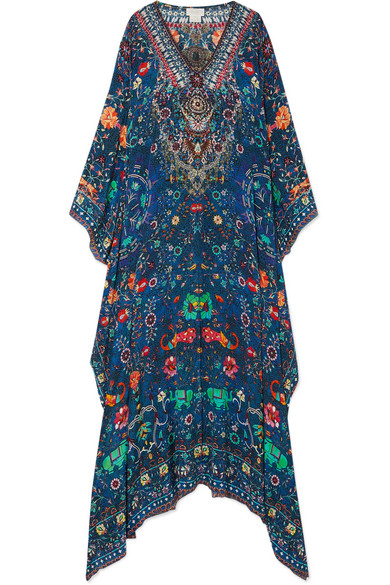 CAMILLA Embellished Printed Silk Crepe De Chine Kaftan in Blue