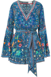 Embellished printed silk crepe de chine playsuit