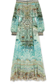The Long Way Home embellished printed silk crepe de chine maxi dress