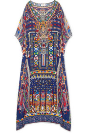 Camilla The Long Way Home embellished printed silk crepe de chine kaftan