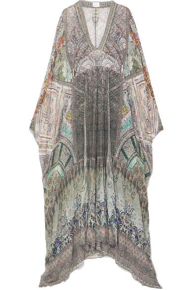 CAMILLA THE LONG WAY HOME EMBELLISHED PRINTED CHIFFON MAXI DRESS