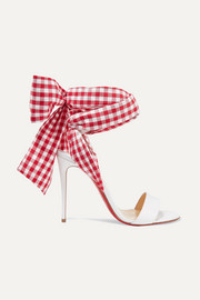 Christian Louboutin Sandale Du Desert 100 leather and gingham canvas sandals