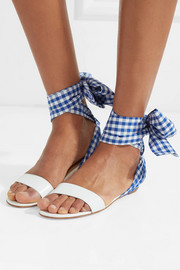Sandale Du Desert leather and gingham canvas sandals