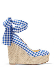 Barbaria Zeppa 120 gingham canvas wedge espadrilles