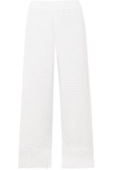 JALINE Tallulah Macramé-Trimmed Pointelle-Knit Cotton Pants in White