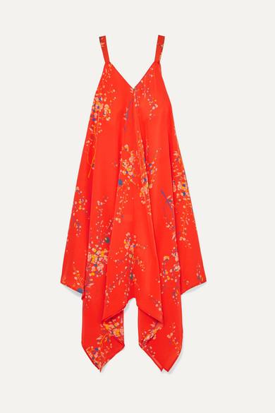 JALINE Selena Floral-Print Silk Crepe De Chine Dress in Coral