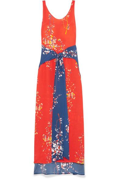 JALINE Elizabeth Paneled Floral-Print Silk Crepe De Chine Maxi Dress in Coral