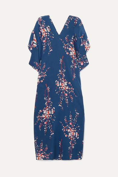 JALINE Beatriz Floral-Print Silk Crepe De Chine Maxi Dress in Navy