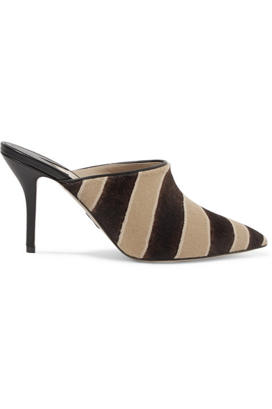 Certosa Zebra Print Calf Hair Mules by Paul Andrew