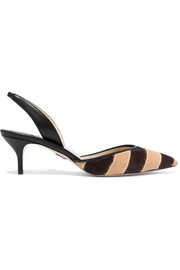 Rhea zebra-print calf hair slingback pumps
