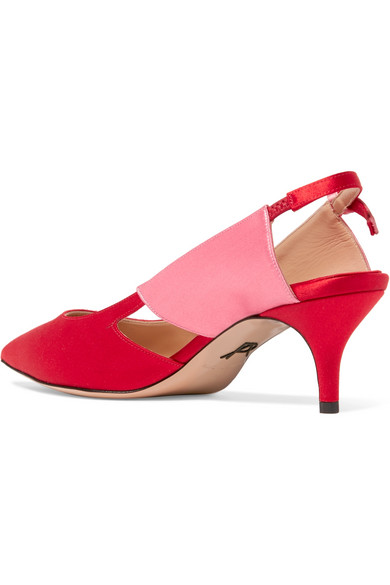Salomon Two-tone Satin Slingback Pumps - Red PAUL ANDREW kviAcKh