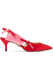 Salomon two-tone satin slingback pumps
