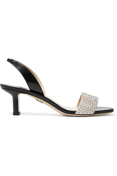 Paul Andrew LONGO LEATHER AND PYTHON SLINGBACK SANDALS