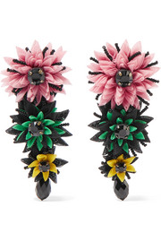 Silk-tulle, bead and crystal clip earrings