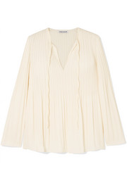 Jade pleated crepe de chine blouse