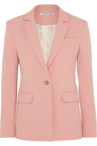 Carson Single-Breasted Crepe Blazer in Pink