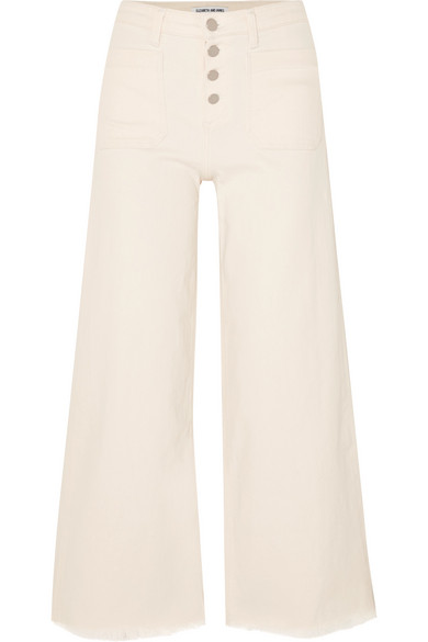 Carmine Button-Fly Wide-Leg Jeans With Raw-Edge Hem in Cream