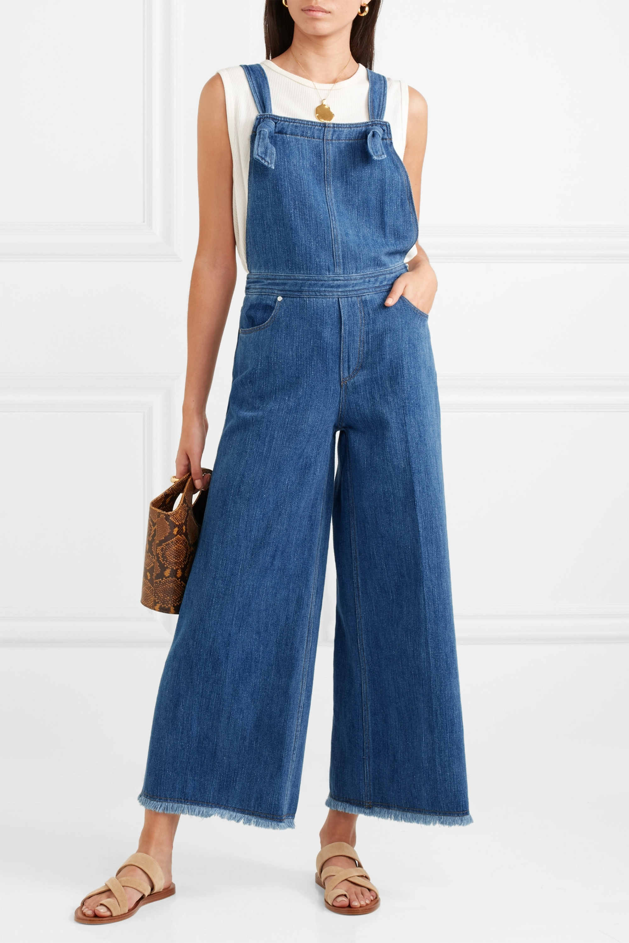 Elizabeth and James Jennette frayed denim overalls