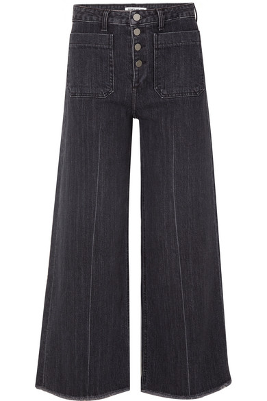 Carmine Wide-Leg Frayed Jeans With Button Fly, Black