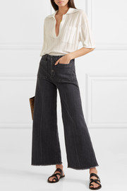 Carmine frayed high-rise wide-leg jeans