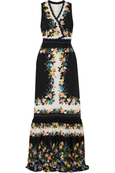 Nichole Wrap-Effect Floral-Print Silk Crepe De Chine Gown, Black