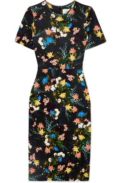 Essie Floral-print Stretch-jersey Dress - Black Erdem Gn4IcYx6
