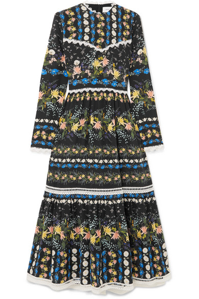 ERDEM Georgie Lace-Trimmed Floral-Print Silk-Crepe Midi Dress in Black