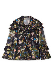 Margery ruffled floral-print silk-voile blouse
