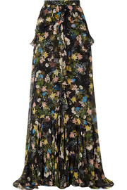 Alison ruffled floral-print silk-voile maxi skirt