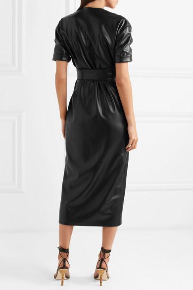 Penelope Vegan Faux Leather Wrap Midi Dress - Black Nanushka fxUQ646ag2