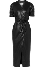 Penelope vegan faux leather wrap midi dress