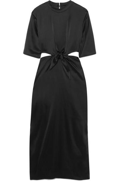 NANUSHKA Bhumi Cutout Satin Midi Dress in Black