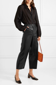 Africa cropped faux leather wide-leg pants