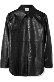 Nanushka Naum croc-effect vegan faux leather shirt