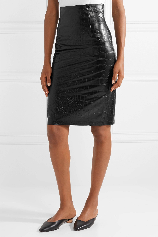 Nanushka Ania croc-effect vegan leather pencil skirt