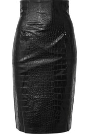 Nanushka Ania croc-effect vegan faux leather pencil skirt