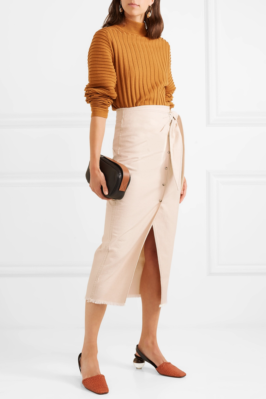 Cream Opal Asymmetric Denim Wrap Skirt Nanushka Net A Porter