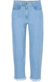 Nanushka Rupa frayed high-rise straight-leg jeans